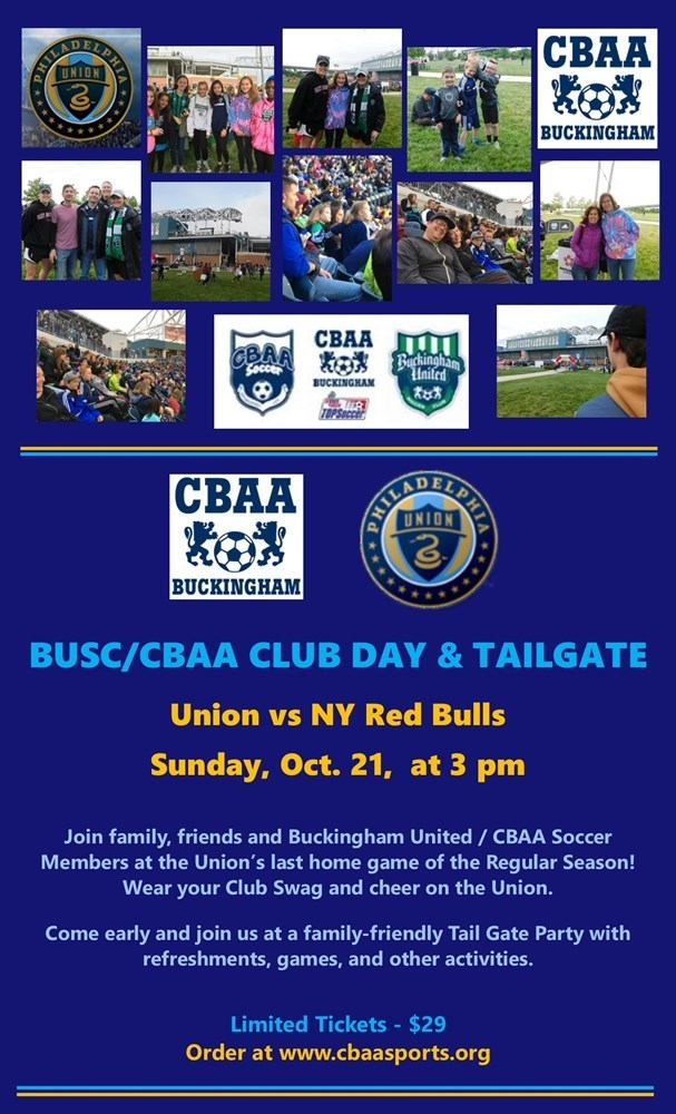 CBAA/BUSC Club Day & Tail Gate at the Union vs NY Red Bulls, 10/21 at 3 PM